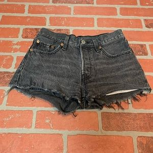 Levi's Black Washed Distressed Cutoff Denim Shorts